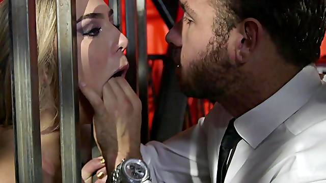 Abducted and tortured slave girl Blair Williams sucking a hard dick