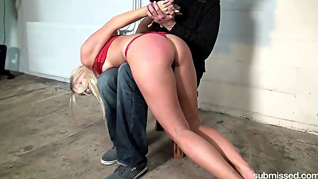 Blonde slave girl Barra Brass loves to be spanked and tortured