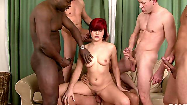Interracial group sex is the favorite sex game for Lucy Belle