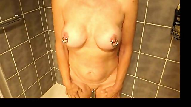 My mature slave girl Bridget gets a funnel in her ass and I piss in it.