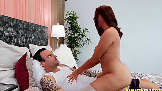 Pretty brunette Lexi Aaane gets her pussy fucked in many poses by a dude
