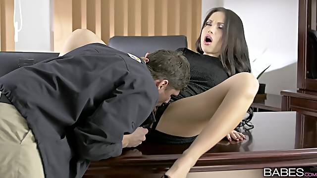 Incredible Sasha Rose gets fucked on the table and receives a facial