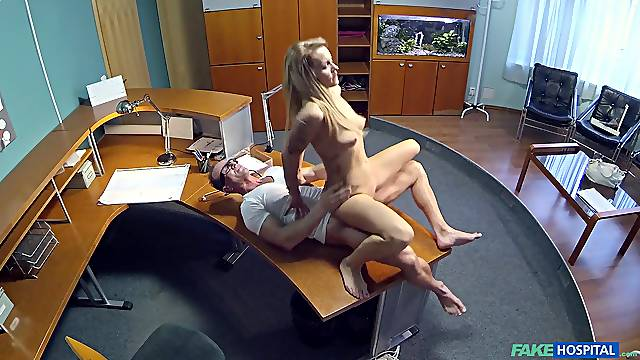 Blonde babe Adel gets a full body exam from her dirty doctor