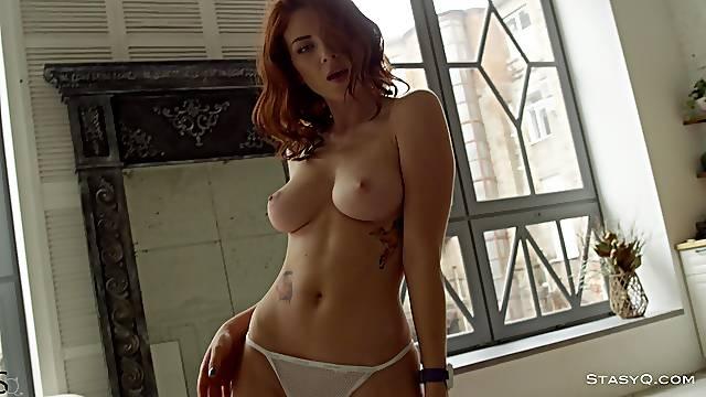 Sexy Russian redhead IngaQ teasing in HD video