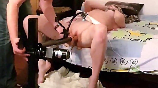 Russian slave girl Masja four hours and hours submitted to a fucking machine.