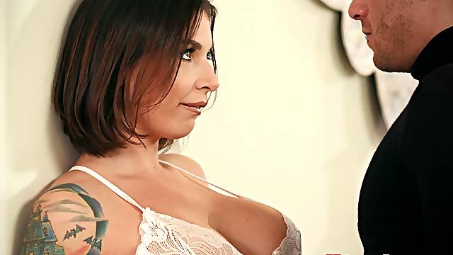 Cheating wife Ivy Labelle with tattoos ass fucked by her lover