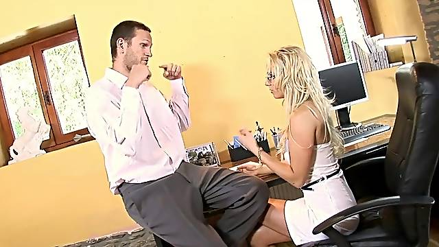 Blonde secretary Carla Cox with glasses fucked and gets a cumshot