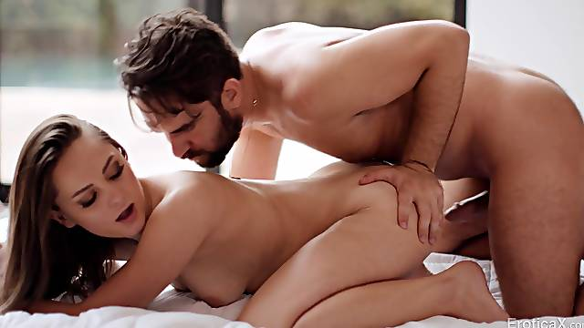 Balls deep pusy pounding on the bed with glamorous Aften Opal