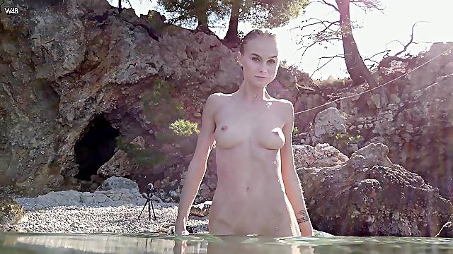 Skinny model Nancy A with nice tits plays in the public and moans