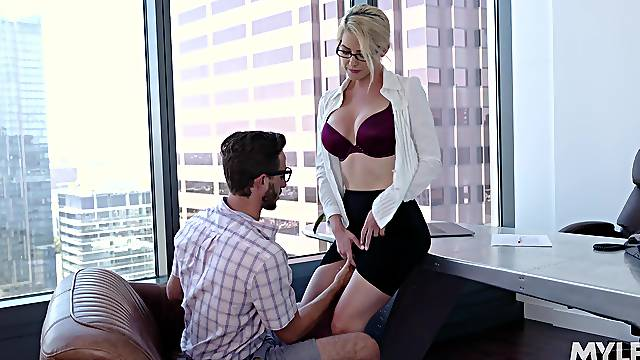Secretary Kit Mercer with glasses fucked on the office table