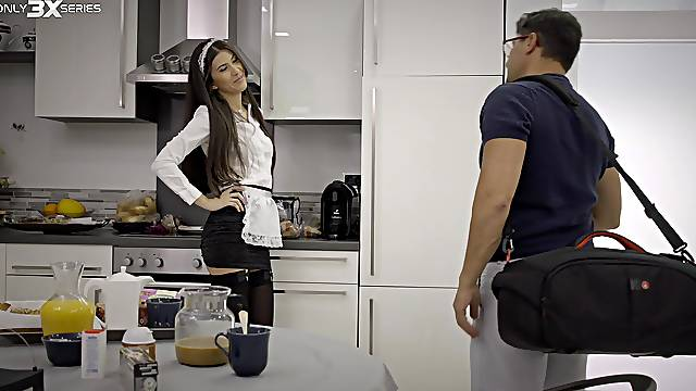 Anya Krey on her knees pleasuring her man with a blowjob. HD
