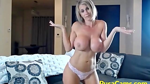 Her cunt is shaved and wet so she wants to have some fun while she is alone and horny at home!