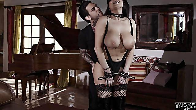 Glamour Romi Rain with massive hooters fucked by a tattooed guy