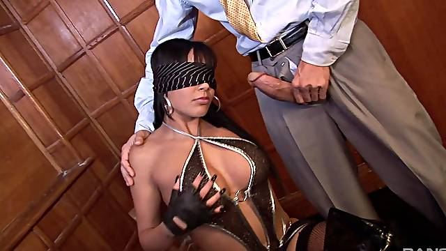 Blindfolded slut Romana Ryder on her knees getting penetrated