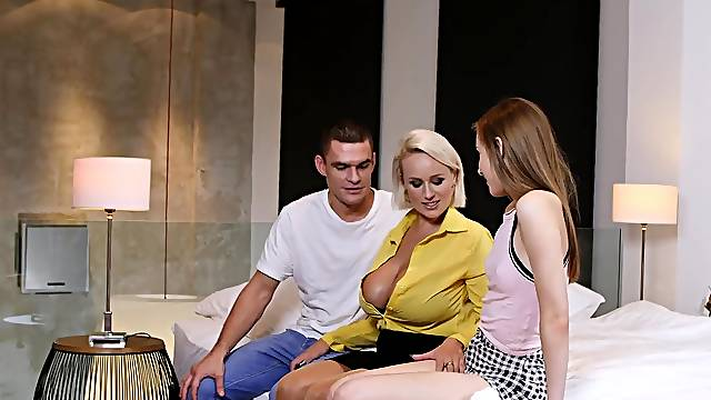 Busty mature teaches a younger couple about sex - Angel Wicky