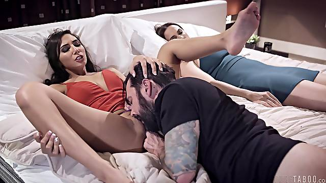 Hardcore fucking with Gianna Dior on the bed next to a housewife