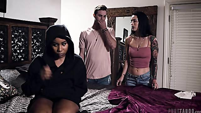 Interracial FFM threesome with sexy Katrina Jade and Jenna Foxx