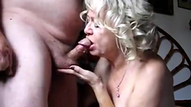 Horny ans sexy blonde granny drink hubby cum