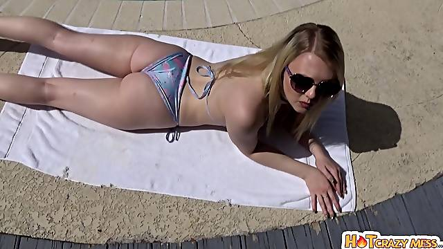 Slutty blonde Lily Rader teases by the pool and gets fucked