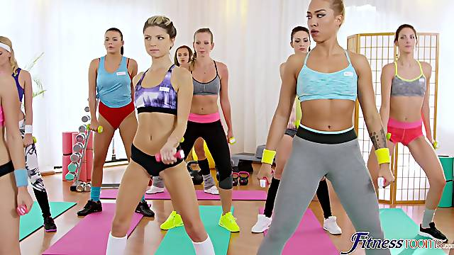 Lesbian threesome in the gym with pussy eating chick Gina Gerson