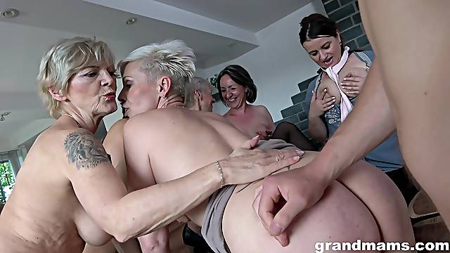 Wild group sex party with lot of dirty mature amateurs and one guy
