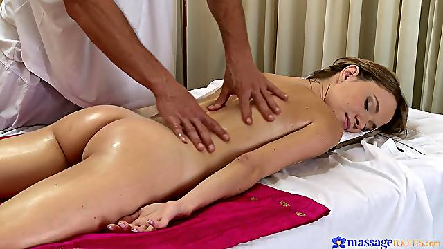 Hot ass oiled model Angel Piaff moans during passionate dicking