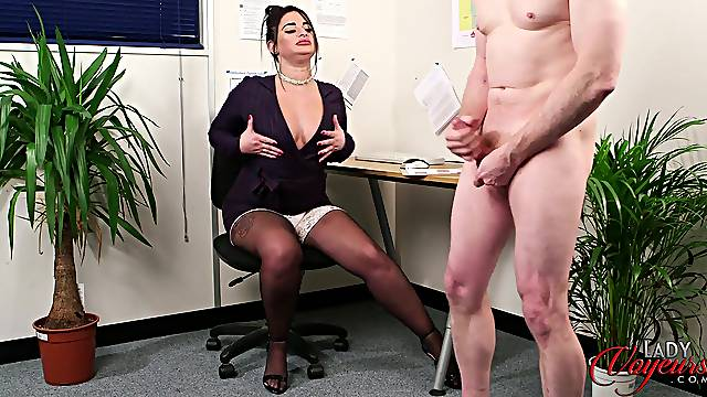 Fat secretary with fake lips flashes her boobs to her boss