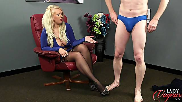 Amateur guy strokes his penis while sexy Carmen Cream watches