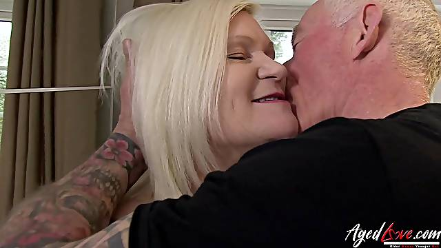 Hardcore sex featuring famous busty british mature and tatooed horny man in action