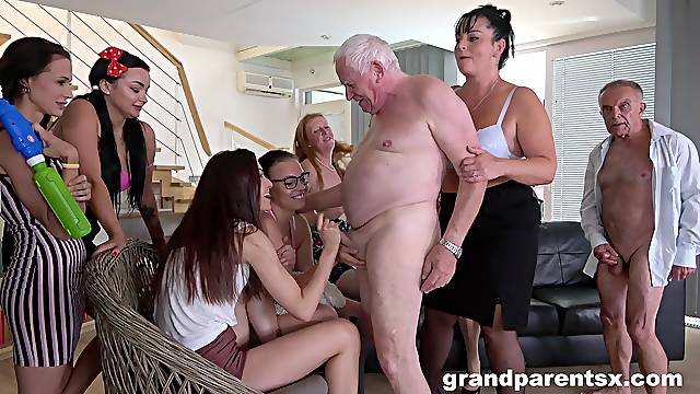 Large group sex party with lot of old dudes and dirty matures