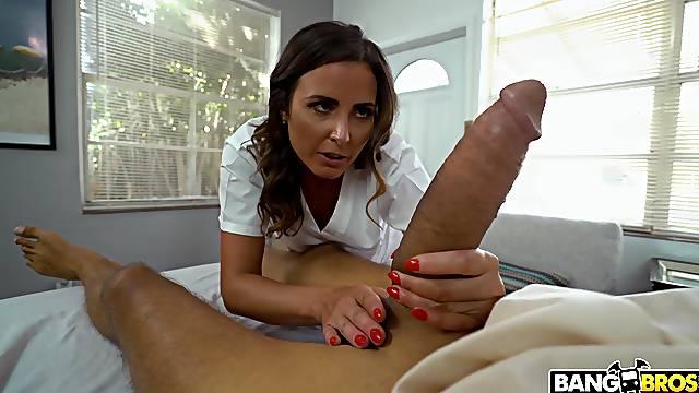 Skinny dude with monster dick fucks horny doctor Helena Price