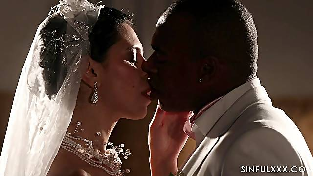 Romantic interracial sex with handsome bride Kira Queen in stockings