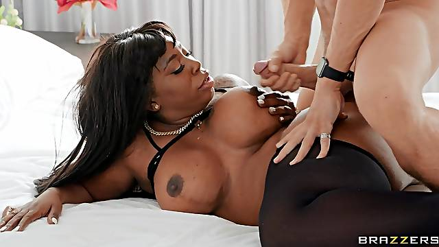 Fat ass ebony Ms London moans during interracial fucking on the bed