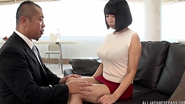 Busty Japanese wife spreads her legs to be fucked on the sofa