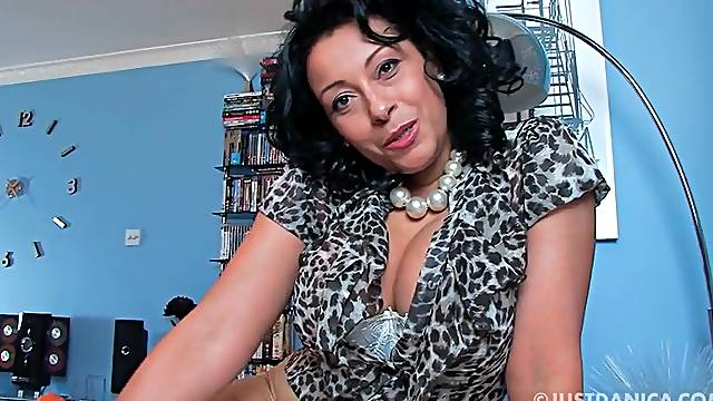 Provocative MILF Danica Collins enjoys teasing at the camera