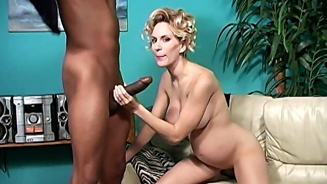 Pregnant pornstar Ruth Blackwell enjoys having interracial sex