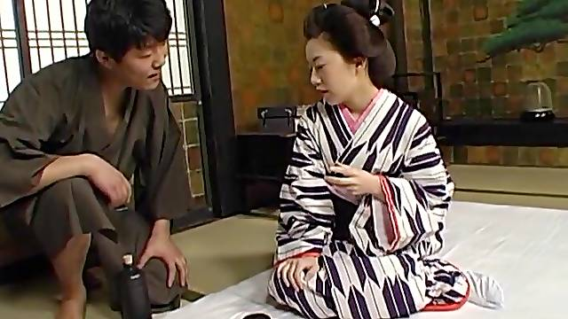 Small boobs Japanese housewife sits on his face and on a cock