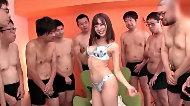 Provocative Japanese model gets fucked hard by lot of dudes