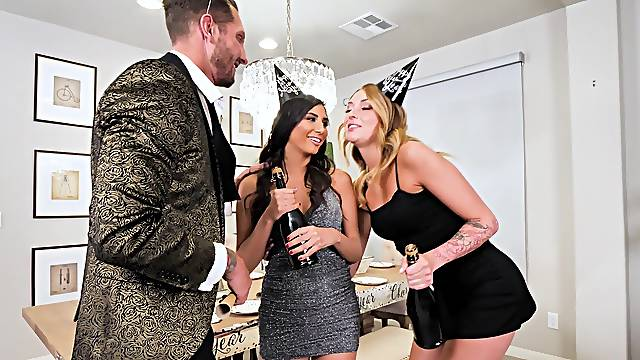 FFM threesome on the table with hotties Charlotte Sins and Gianna Dior