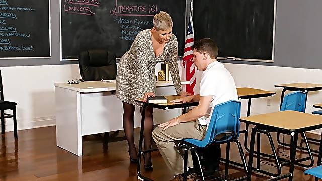 Horny teacher Ryan Keely enjoys having sex on the table. HD