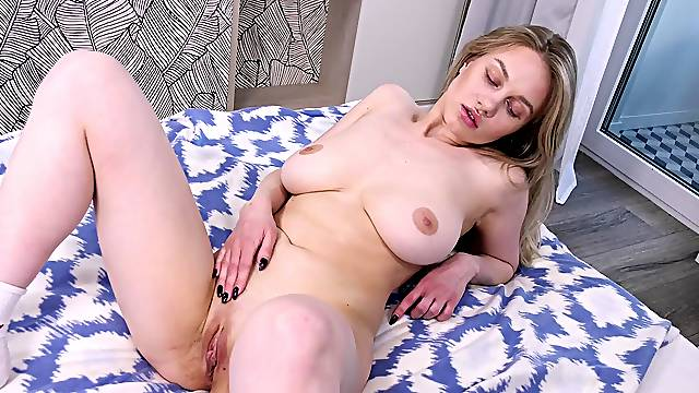 Home alone hottie Marie Duval plays with her large tits and wet pussy