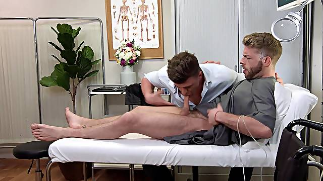 Handsome dude gets his dick sucked by a doctor and they have gay sex