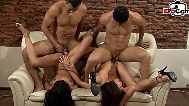 Spanish amateur latina milf gangbang