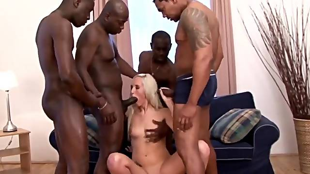 Cock hungry sluts enjoy sucking many black dicks in gangbang sessions