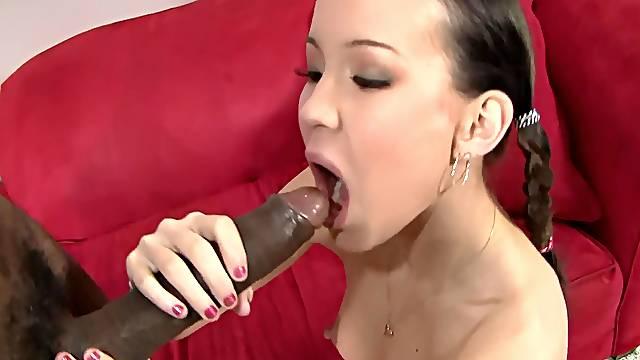 Smoking hot Amai Liu moans loudly while riding a black pecker