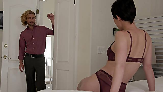 Amateur housewife Olive Glass moans while riding his large dick