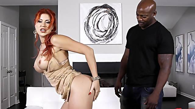 Busty redhead MILF Savana Styles gets fucked by a horny black dude