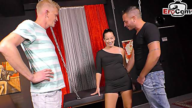 German wife try threesome in swinger club