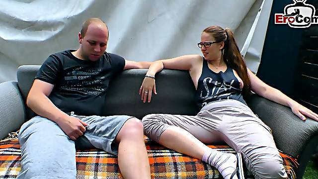 German couple seduced and try porn