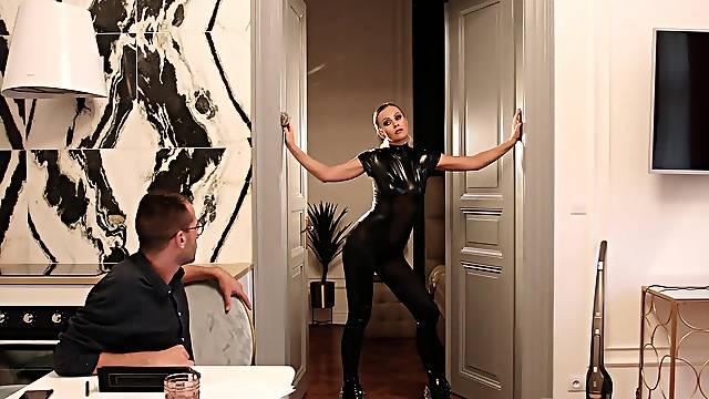 Horny model Tina Kay in latex enjoys riding a giant manhood